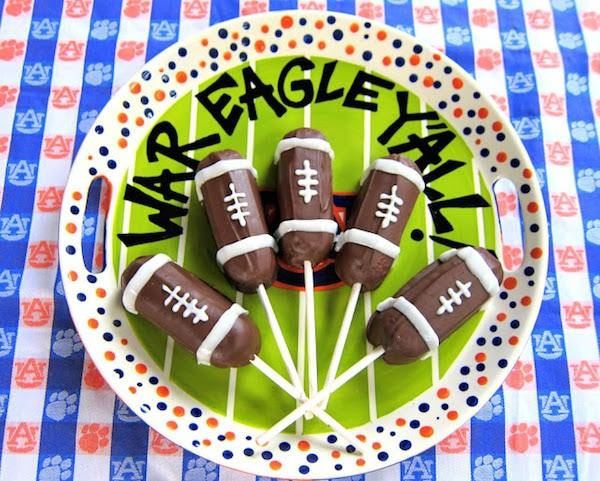 Football Twinkie Pops on a Serving Dish | Plain Chicken
