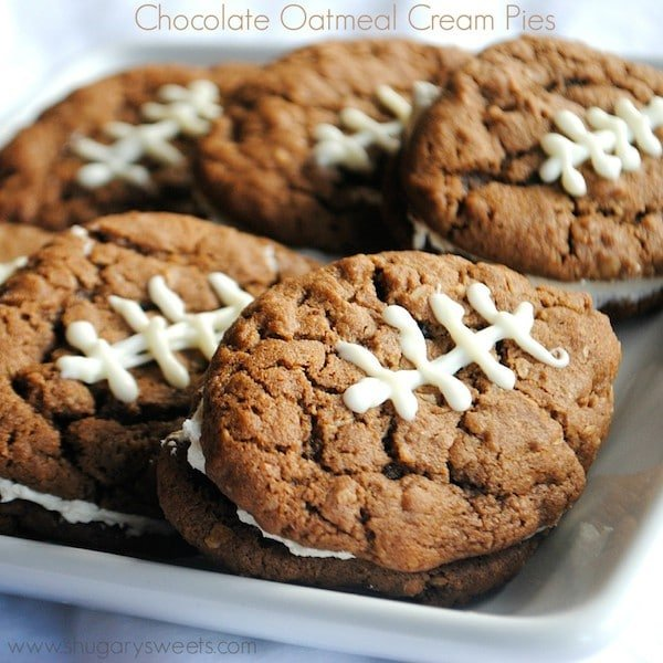 Chocolate Oatmeal Cream Pie Footballs on a White Serving Platter | Shugary Sweets