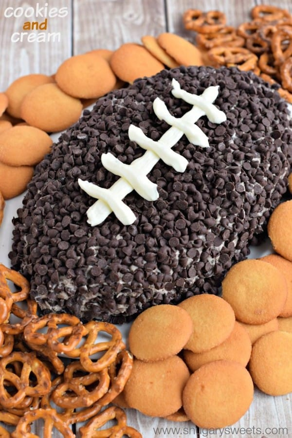 Cookies and Cream Football Cheese Ball with Pretzels and Wafers | Shugary Sweets