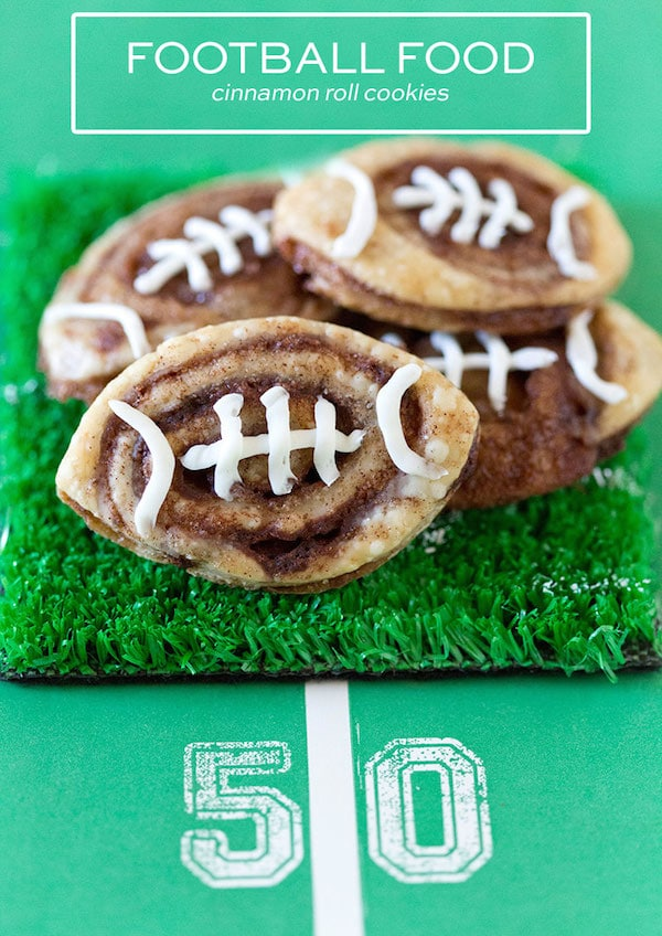 Football Cinnamon Roll Cookies on Fake Grass | Pizzazzerie