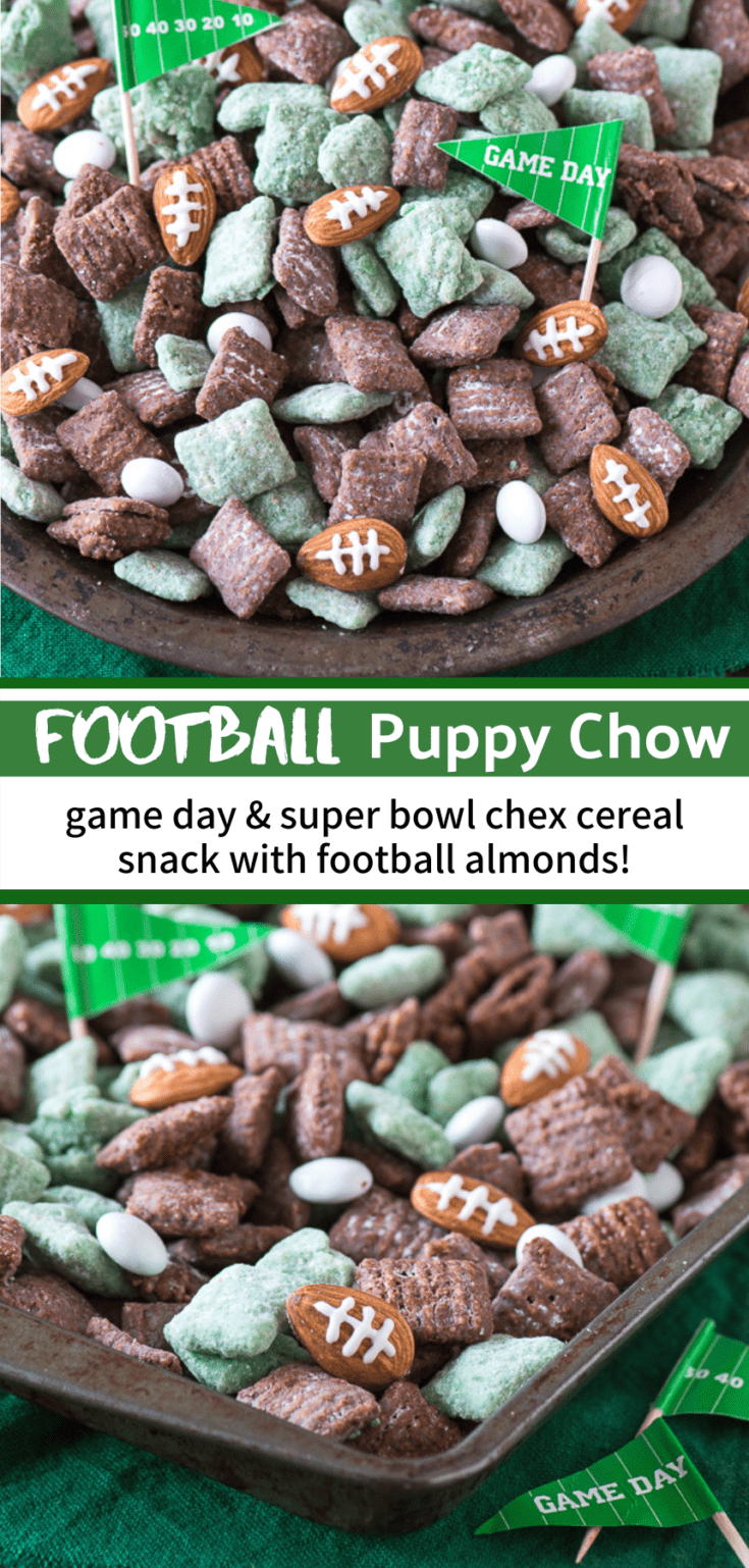 The ultimate football puppy chow! Cheer on your favorite team with this game day or super bowl snack recipe! #footballdessert #footballpuppychow #superbowldessert #footballfood #superbowlfood