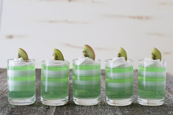 Layered Melon Kiwi Jello Cups | The First Year