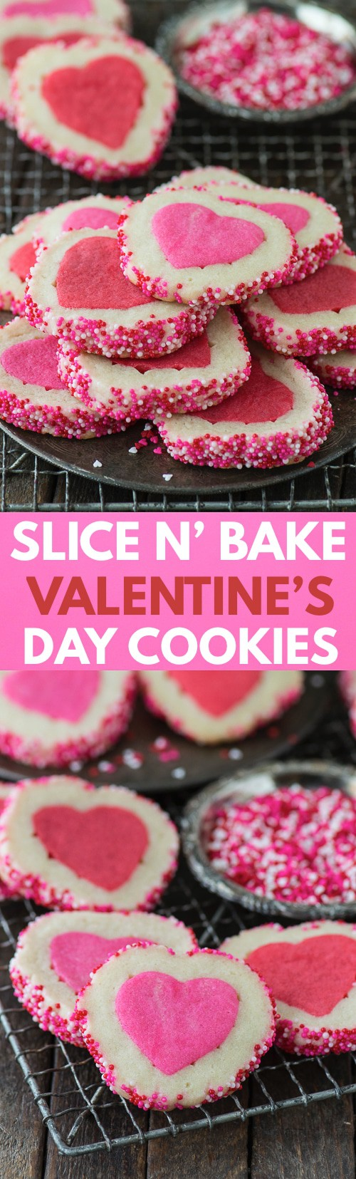 Homemade Valentine's Day Slice N' Bake Cookies with a step by step video!