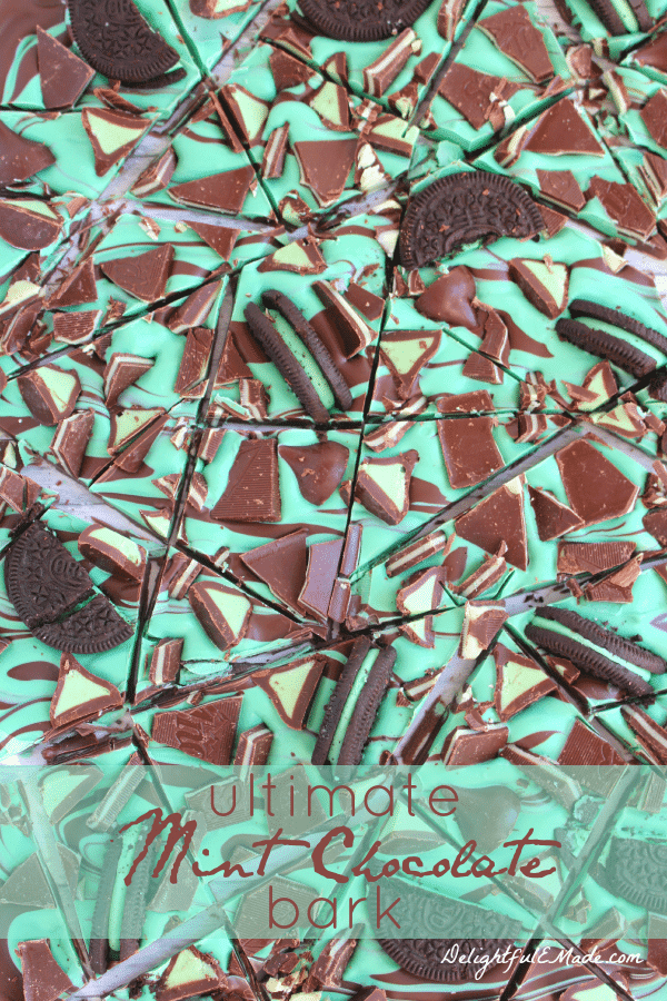 Ultimate Mint Chocolate Bark with oreos on top.