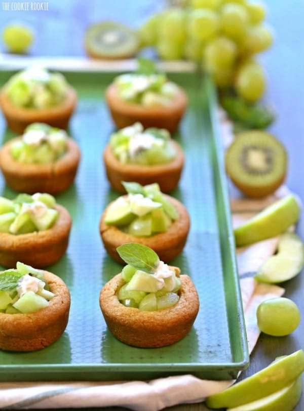 Green Fruit Salad Cookie Cups on a green serving platter.