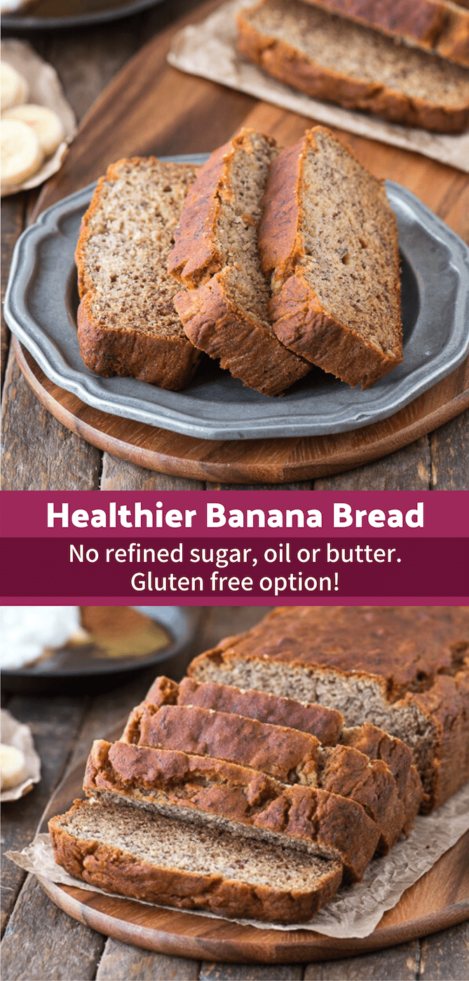 Healthy greek yogurt banana bread that is refined sugar, oil or butter free. This banana bread uses honey and the sweetness of ripe bananas! This healthy banana bread has been tested gluten free too! #healthybananabread #greekyogurtbananabread #wholewheatbananabread #bananabread #healthyrecipes