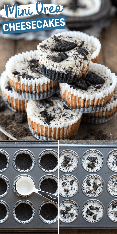 7 ingredient oreo cheesecakes is a mini cheesecake recipe that's easy to make in a muffin pan! There's a 2 ingredient oreo crust and a 5 ingredient oreo cheesecake filling. These mini oreo cheesecake cupcakes are a party favorite and one of the best oreo cheesecake recipes! #minioreocheesecakes #oreocheesecake #cheesecake