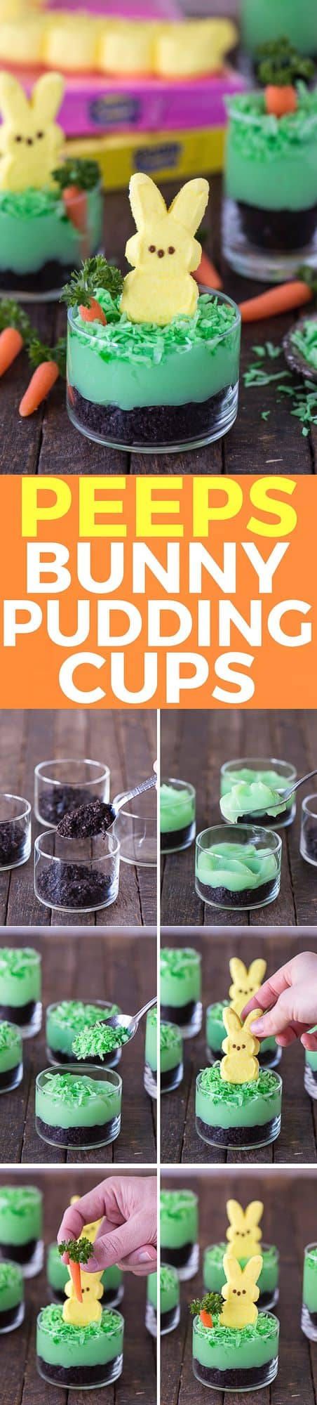 Simple, no bake easter dessert! Peeps bunny pudding cups with oreos, pudding, coconut, a mini carrot and peeps!