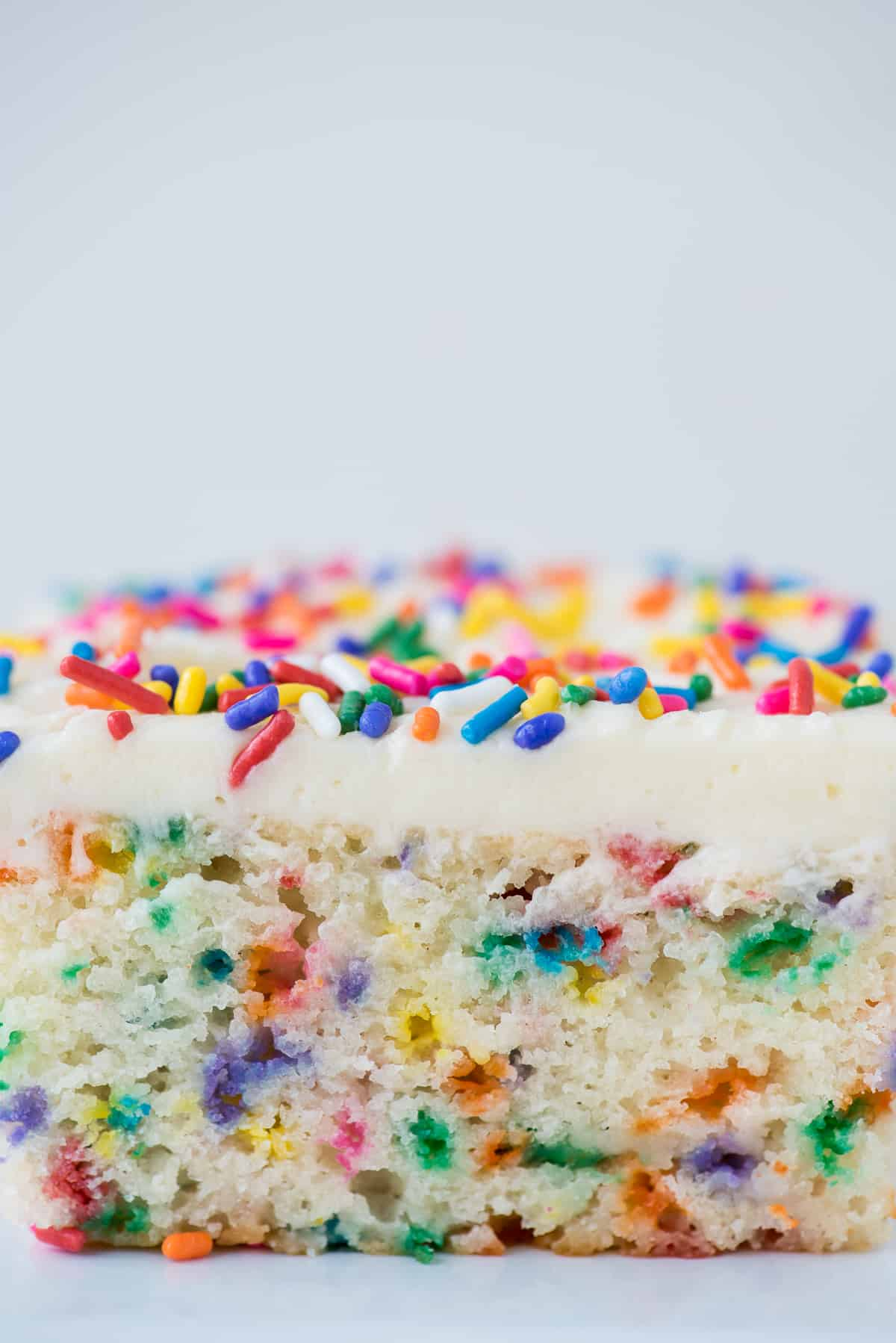 close up image of a slice of funfetti cake
