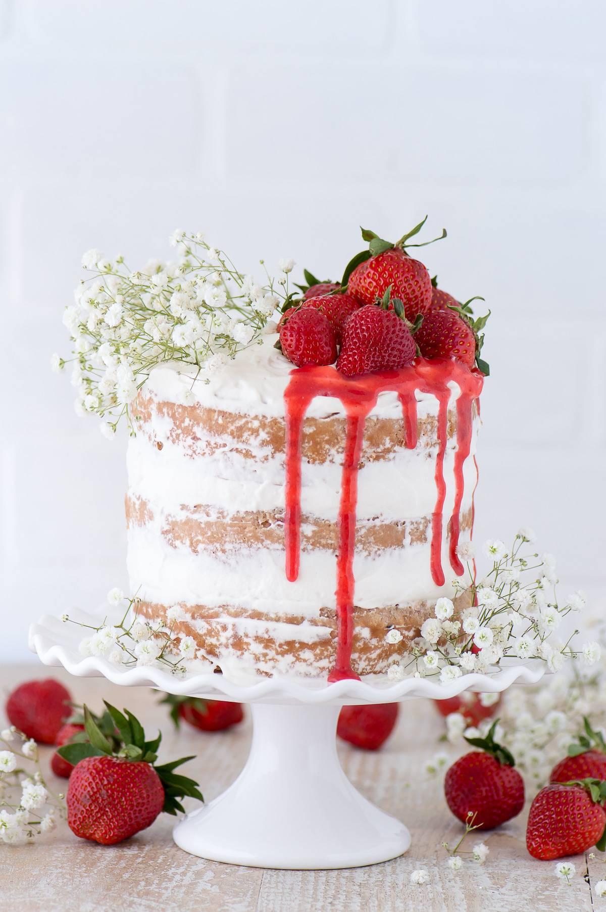 Strawberries and Cream Naked Cake