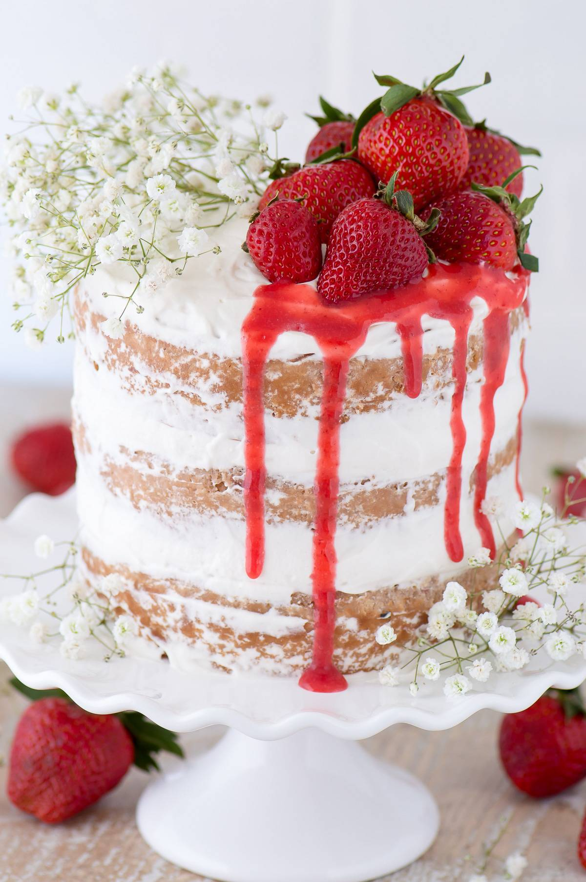 Strawberries And Cream Naked Cake The First Year
