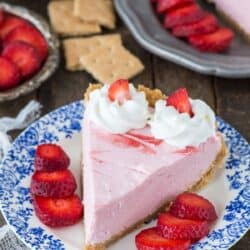 Fresh strawberry mousse pie with real strawberry puree and a homemade graham cracker crust!