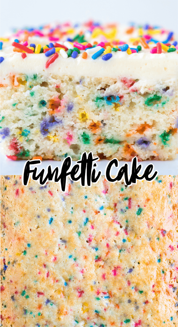 close up of funfetti cake slice with sprinkles collage with text overlay