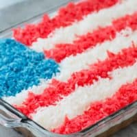Easy 4th of July cake recipe - American Flag shredded coconut cake!