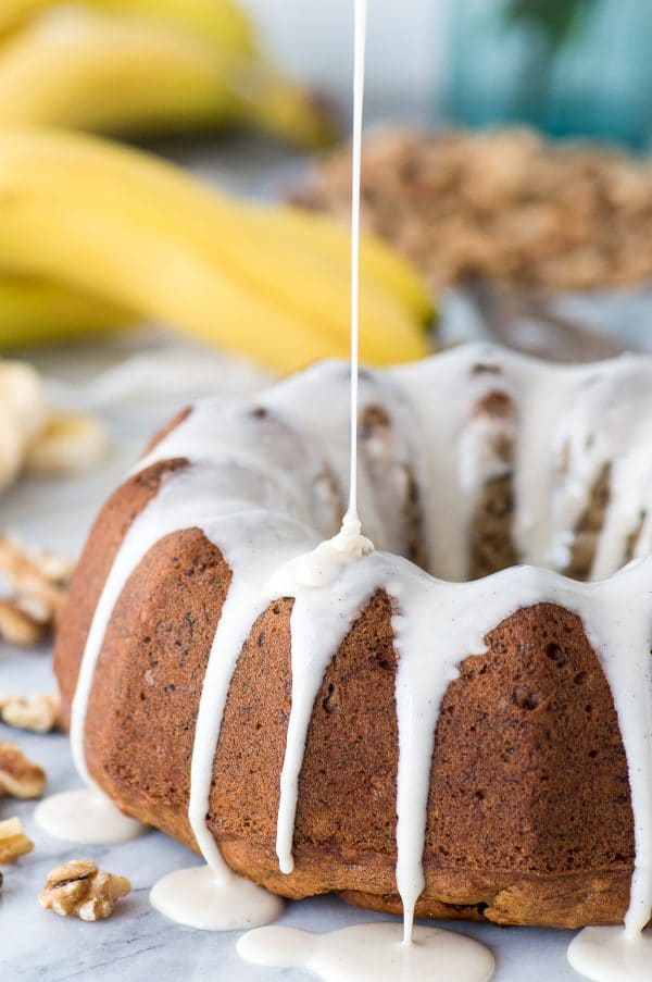 One bowl banana nut bundt cake drizzled with vanilla bean glaze!