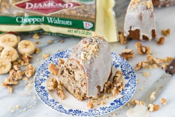 One bowl banana nut bundt cake drizzled with vanilla bean glaze!