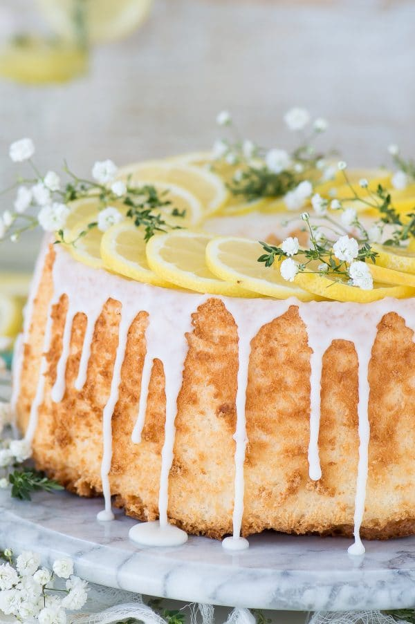 Easy and rustic lemon angel food cake that begins with a box mix!