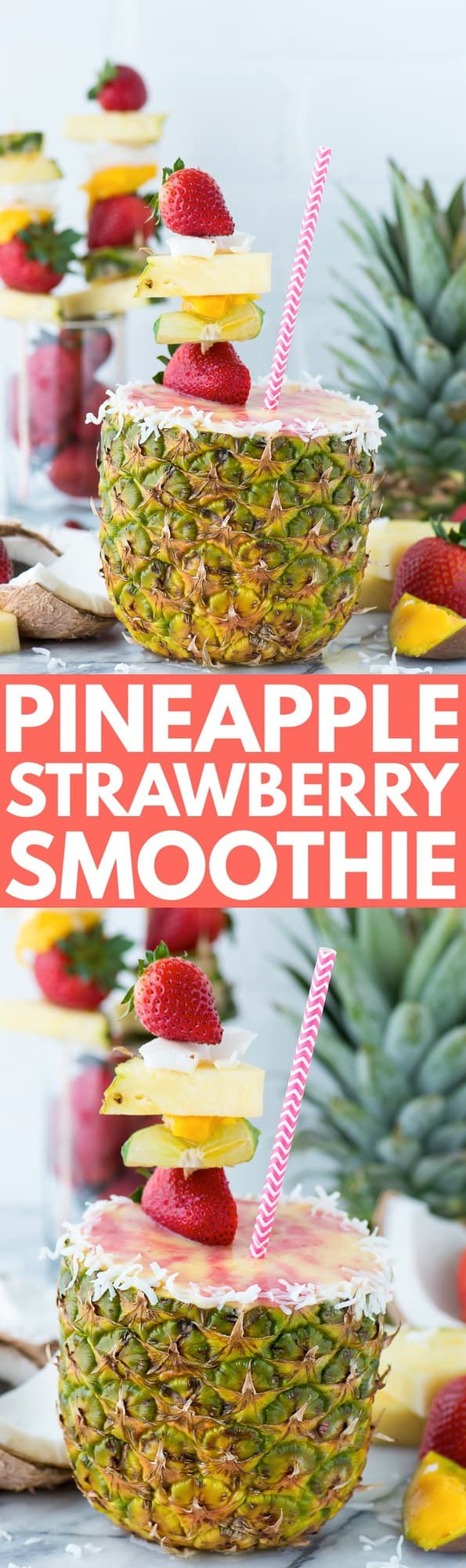 Fresh pineapple strawberry smoothie in a pineapple cup!