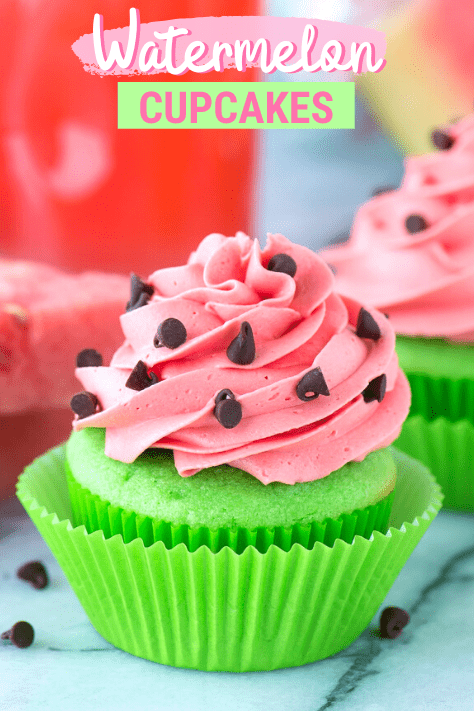 green cupcakes with pink watermelon frosting with mini chocolate chips with text overlay