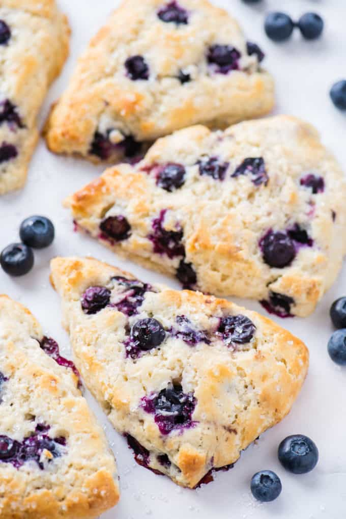blueberry scones arranged in half circle on white background