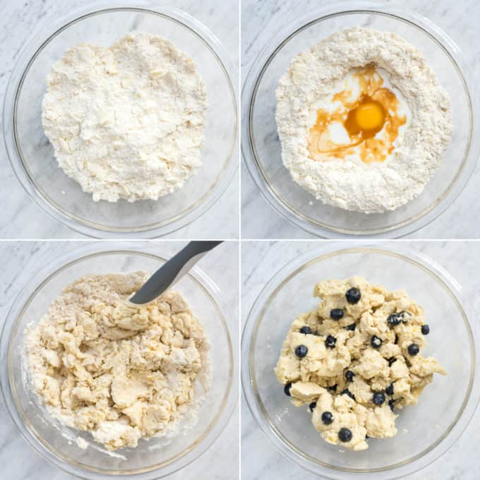how to make blueberry scone dough collage