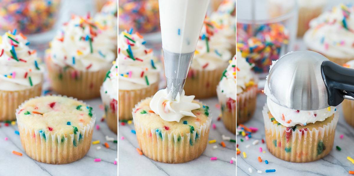 3 funfetti cupcakes with white frosting topped with rainbow sprinkles