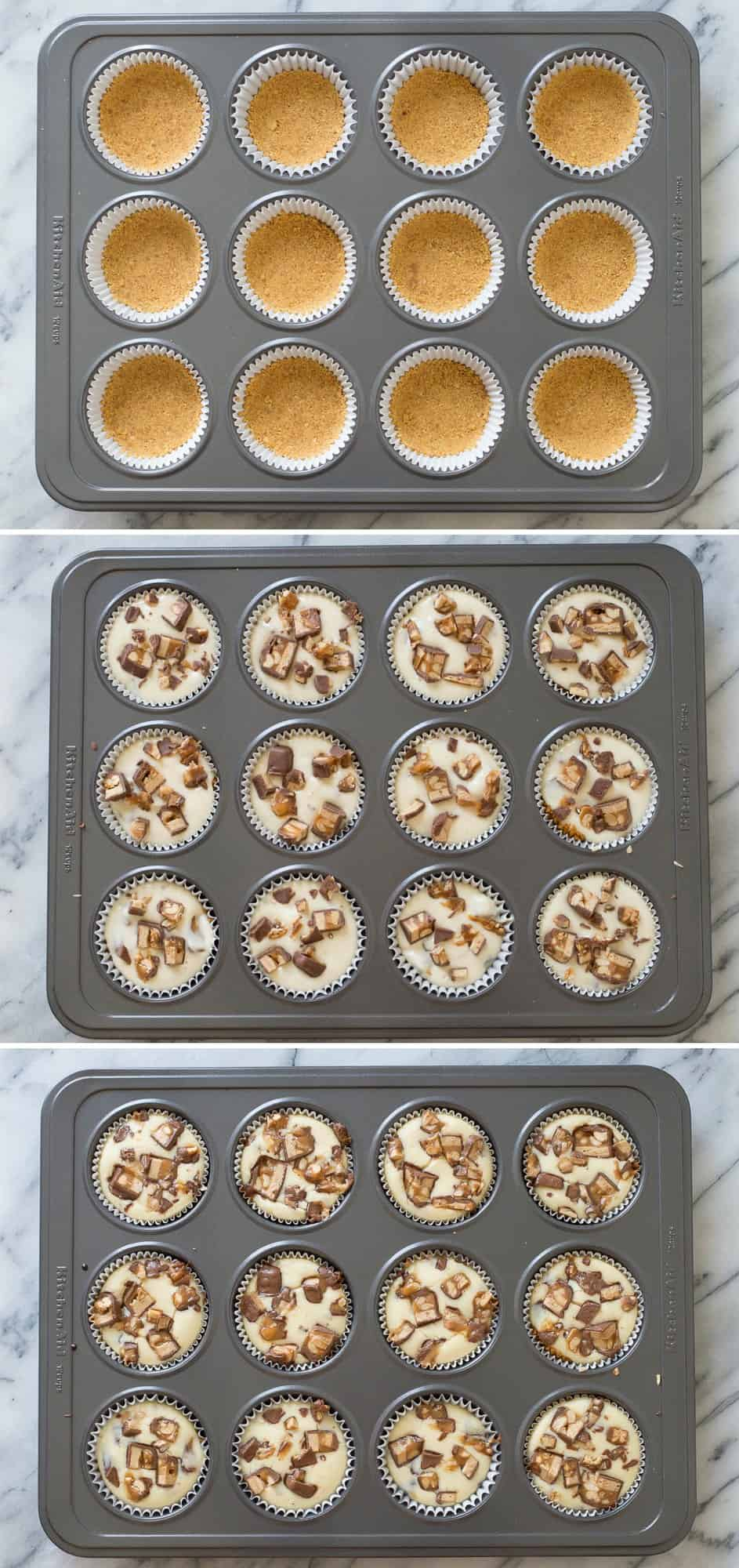 7 ingredient mini snicker's cheesecake recipe made in a muffin pan!