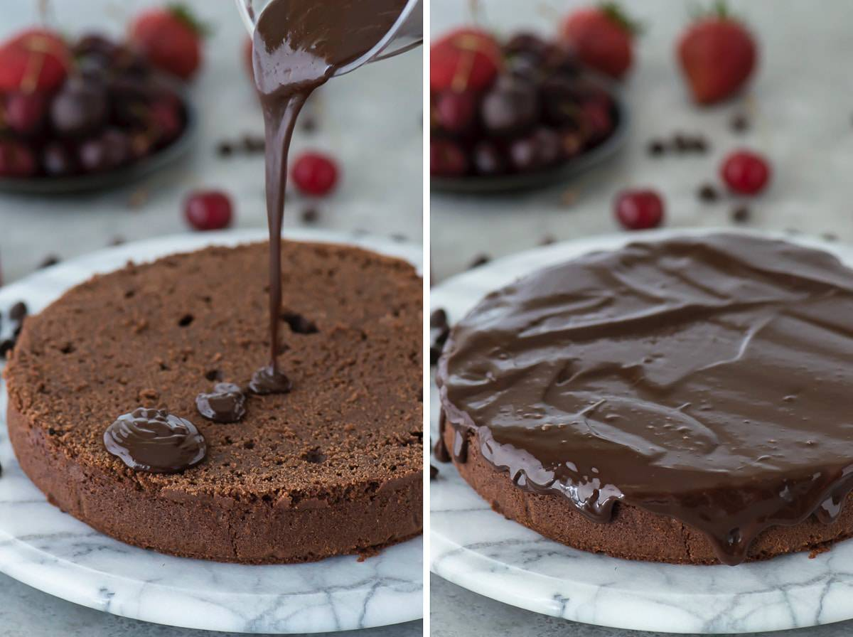 Classic chocolate mud cake recipe with chocolate ganache. Top with fresh berries during the summer.