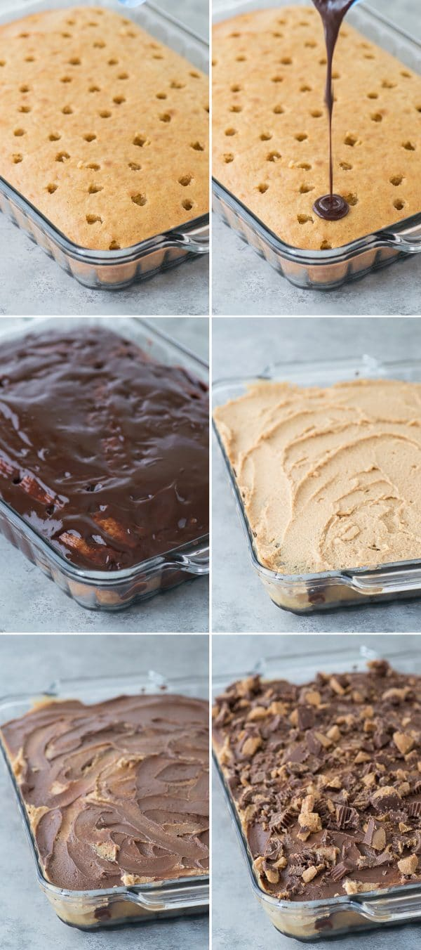 step by step how to make reese's poke cake collage