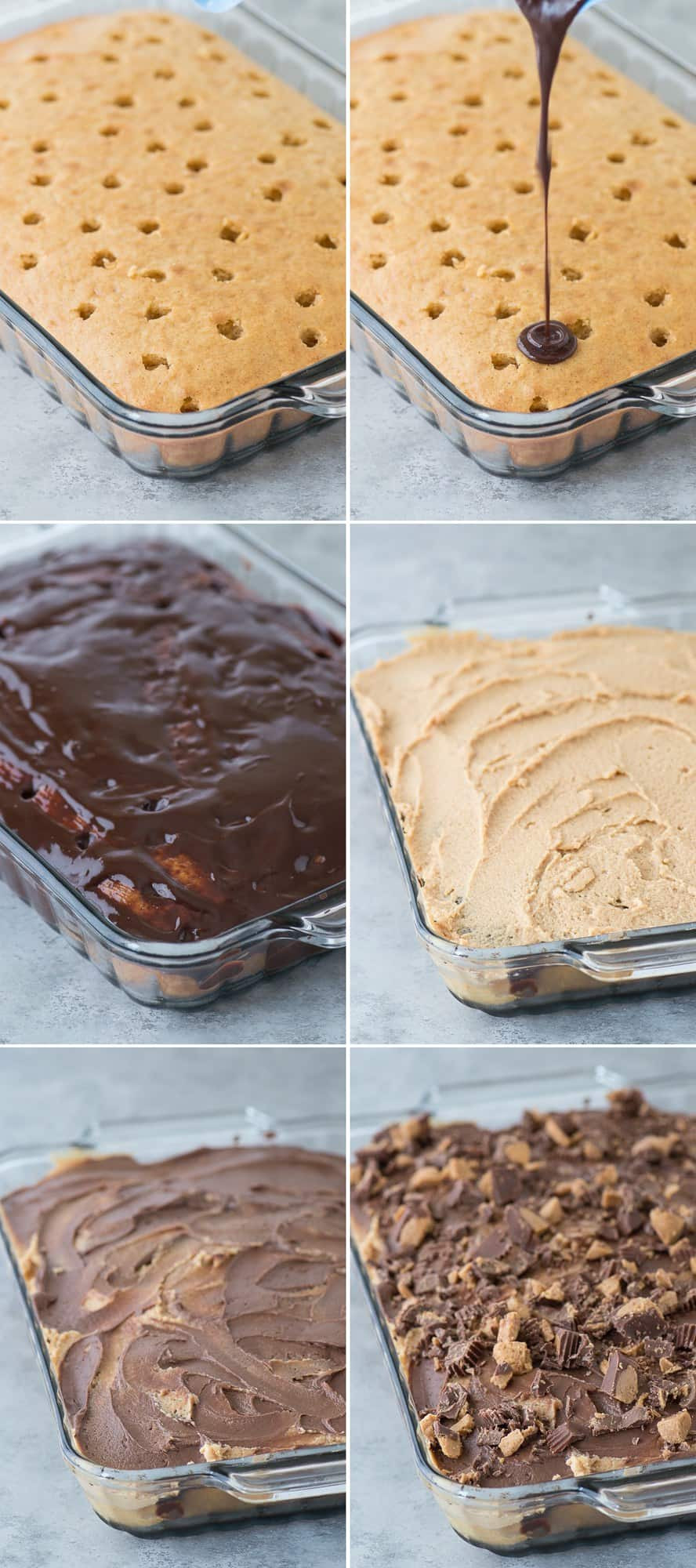 Peanut Butter Chocolate Poke Cake - peanut butter cake, chocolate ganache, peanut butter cream cheese frosting mixed with chocolate frosting all topped with peanut butter cups!