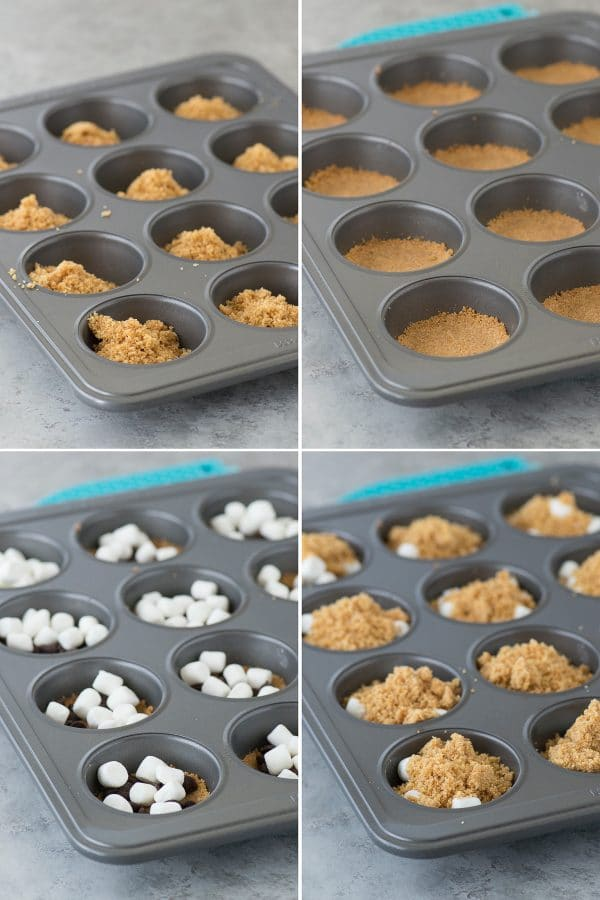 photo collage - s'mores cups ingredients in a muffin baking sheet - graham crackers, marshmallows and chocolate chips.