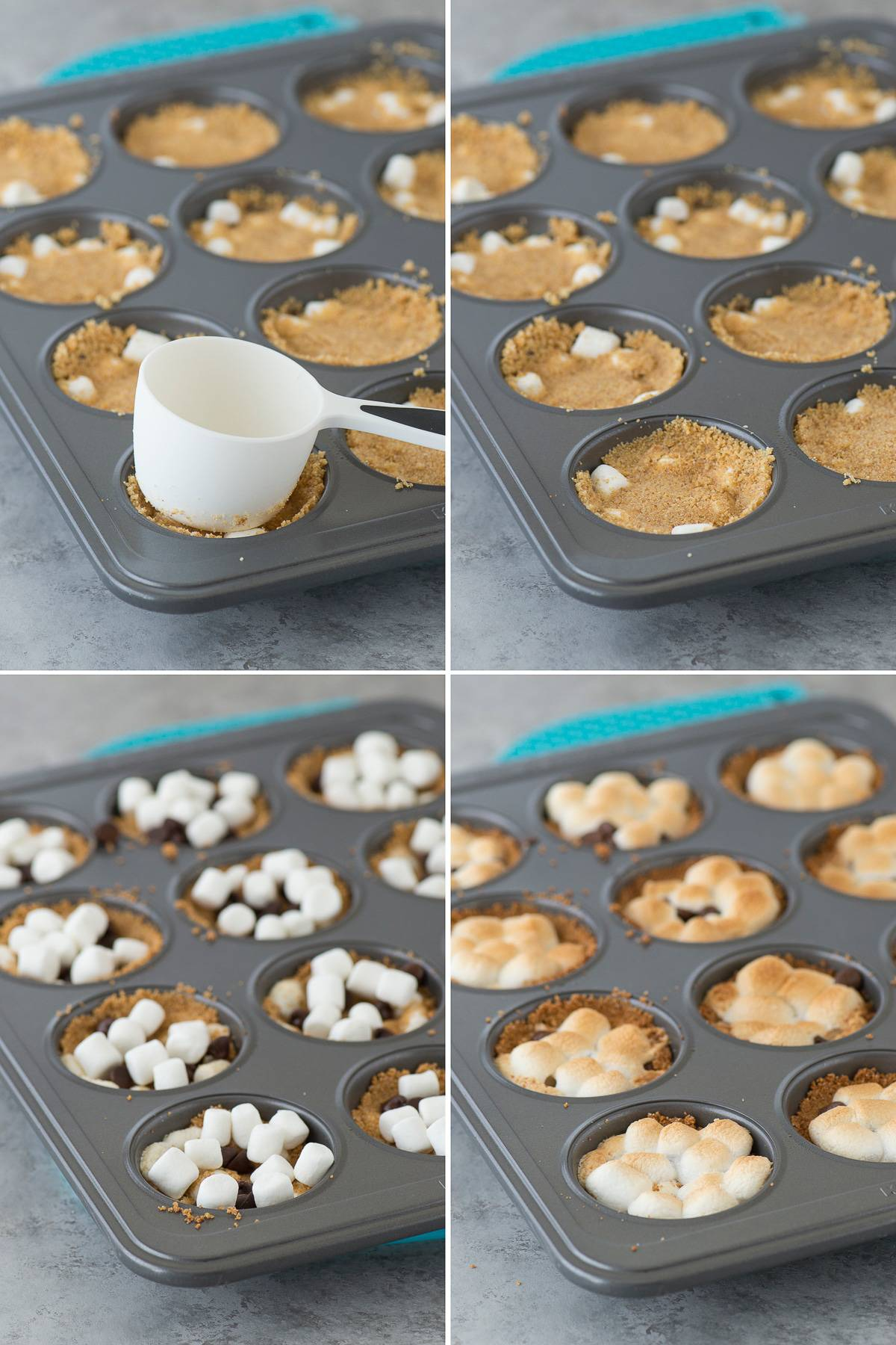 photo collage - Using a measuring cup to push down on graham cracker cups to made these delicious indoor S'mores Cups in a muffin pan.