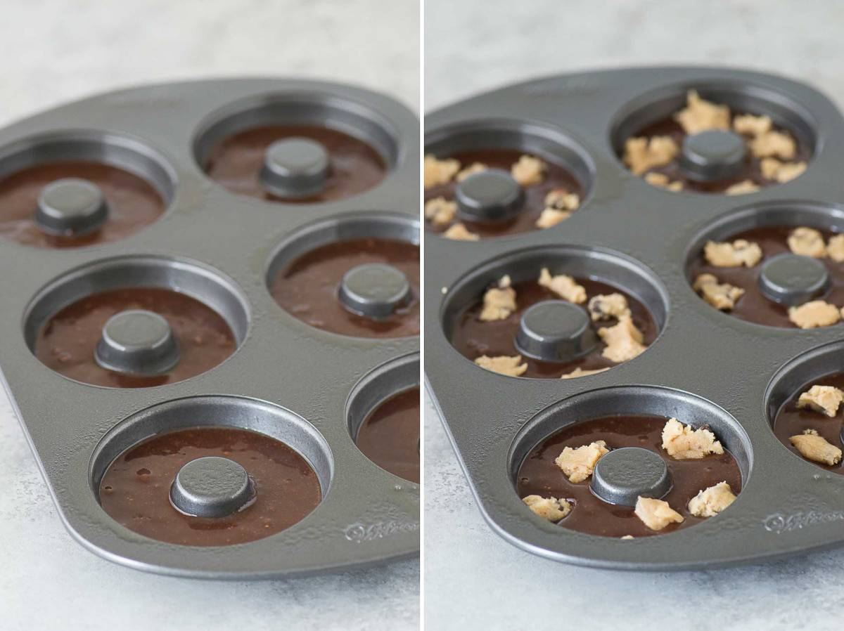 Brookie Donuts! Brownie batter and cookie dough bites baked in a donut pan and topped with chocolate chip cookie crumbs!