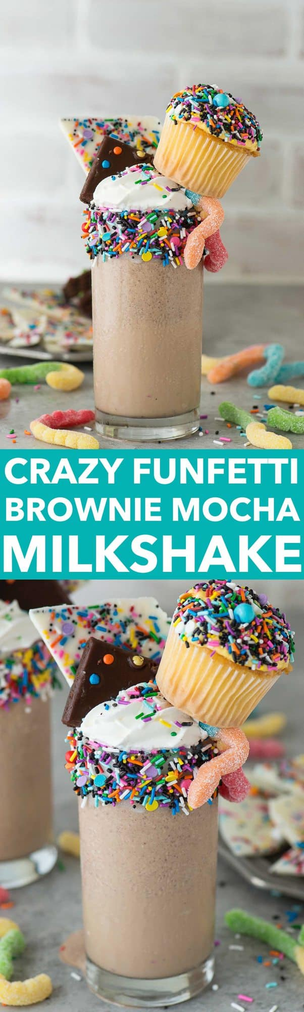 Look at this over the top, crazy funfetti brownie mocha milkshake! I can't decide if my favorite part is the cupcake or the gummy worms!