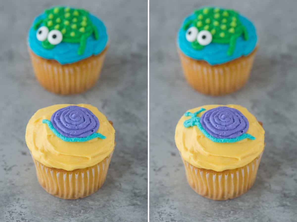Easy to make turtle and snail cupcakes! Complete with a full photo tutorial - Great for a themed birthday party!