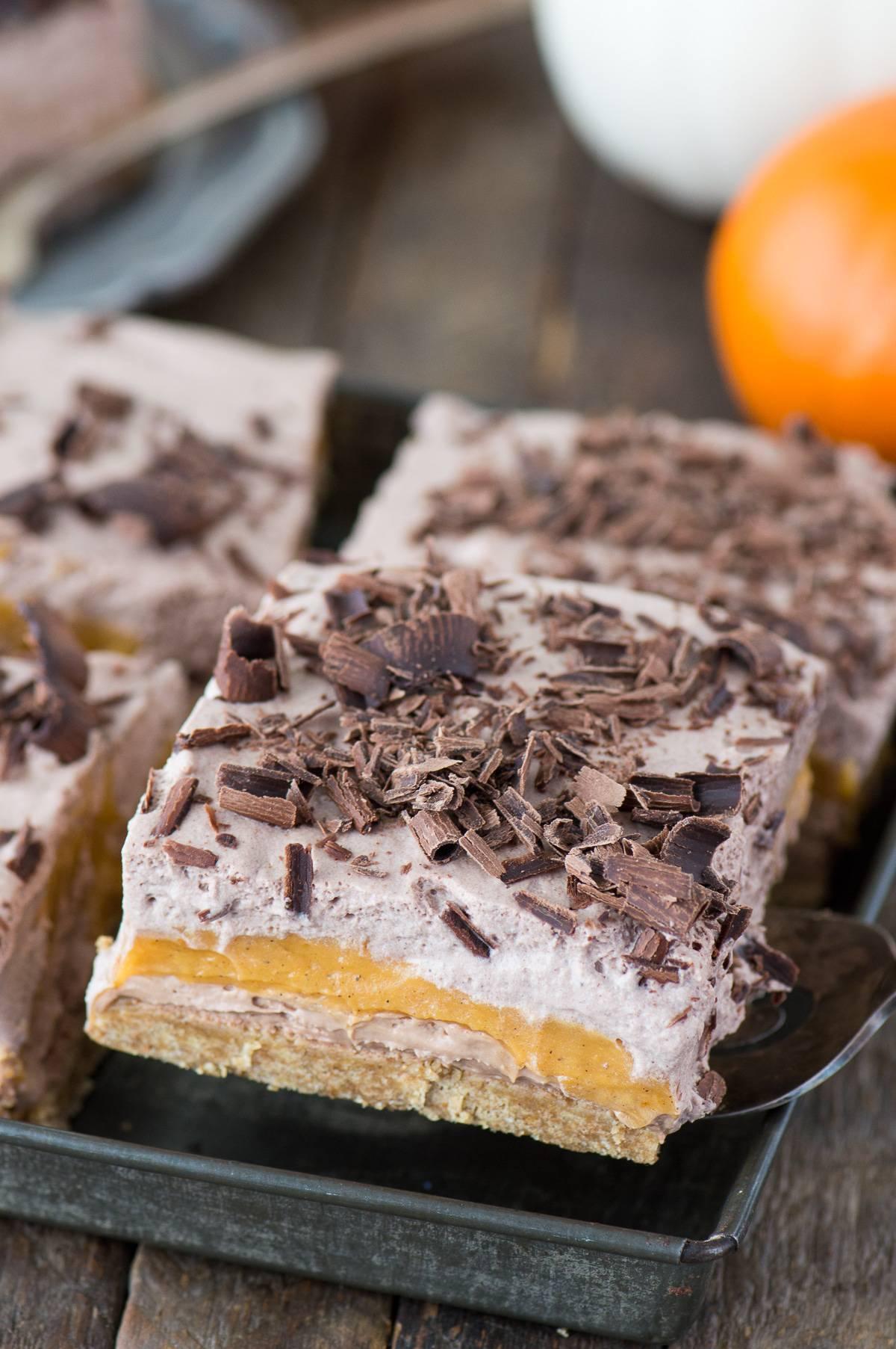Chocolate Pumpkin Dessert Lasagna | The First Year