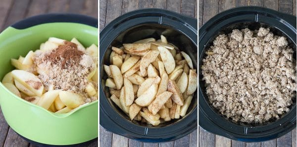 how to make crock pot apple crisp collage