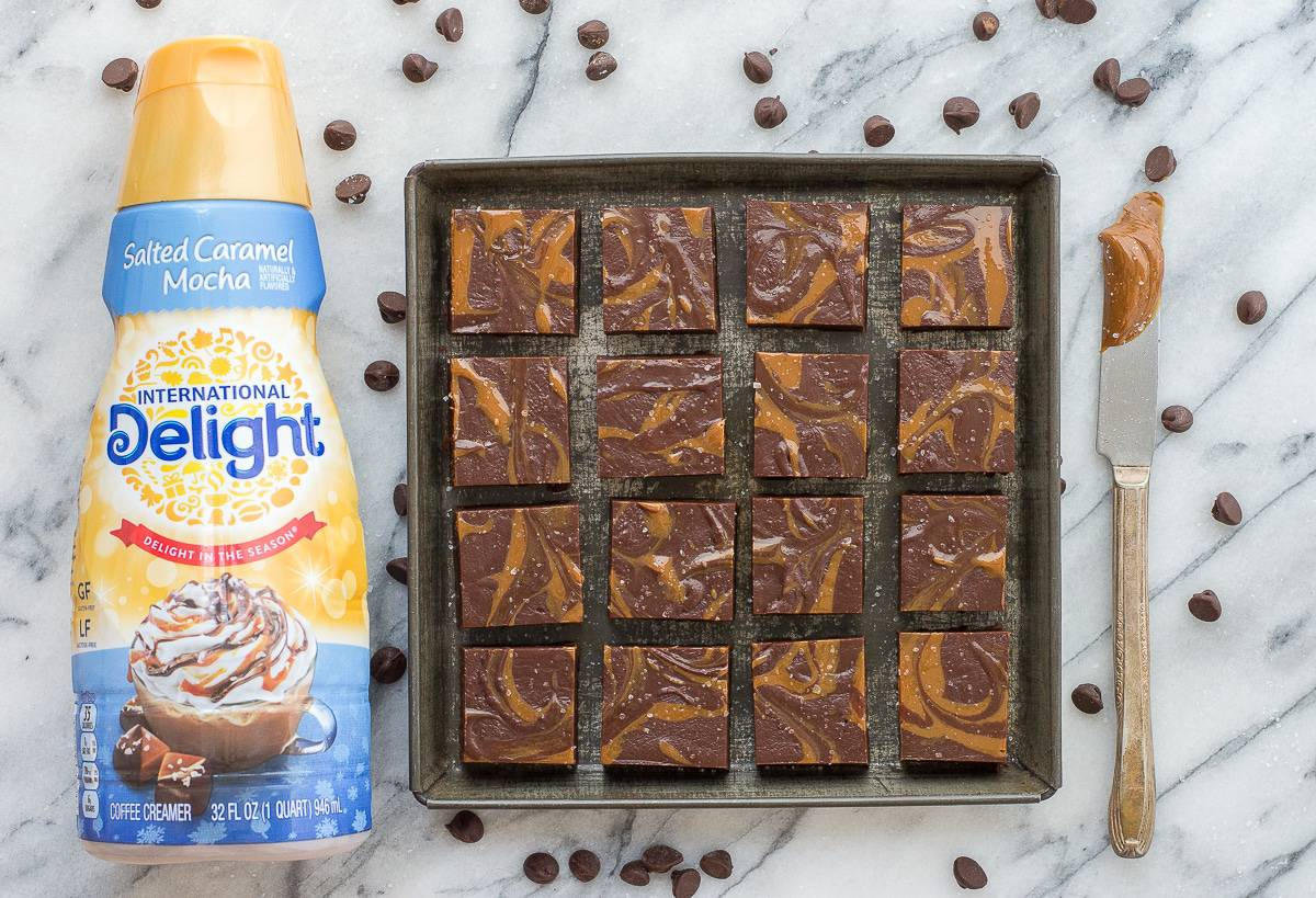 The BEST salted caramel mocha fudge with dulce de leche swirls and sprinkled the sea salt! 7 ingredients and ready to eat in 3 hours!