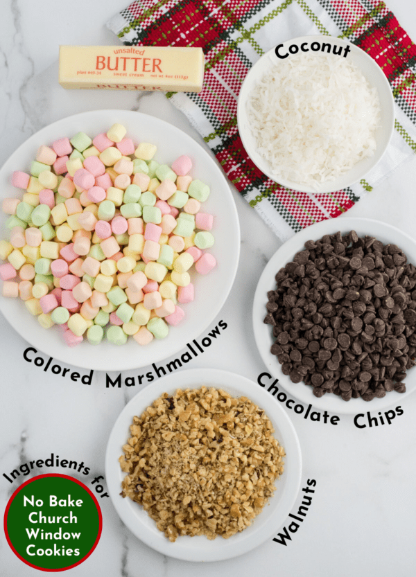ingredients to make no bake christmas church window cookies