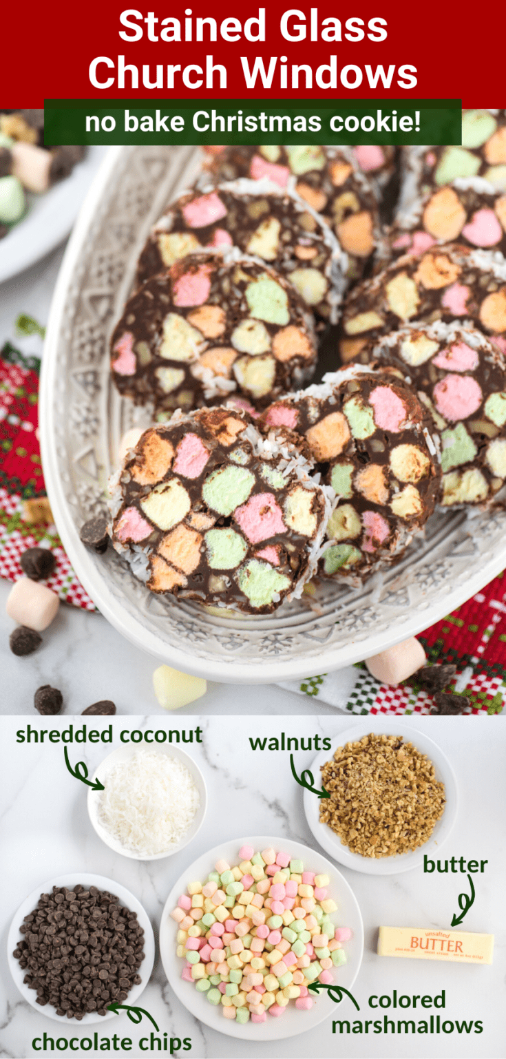 Church window cookies are a classic no bake Christmas cookie made with mini marshmallows, chocolate, walnuts and shredded coconut! These no bake stained glass window cookies are a family favorite! Easy to follow no bake Christmas recipe with only 5 ingredients and a video tutorial! #churchwindowcookies #churchwindowsrecipe #nobakestainedglasscookies