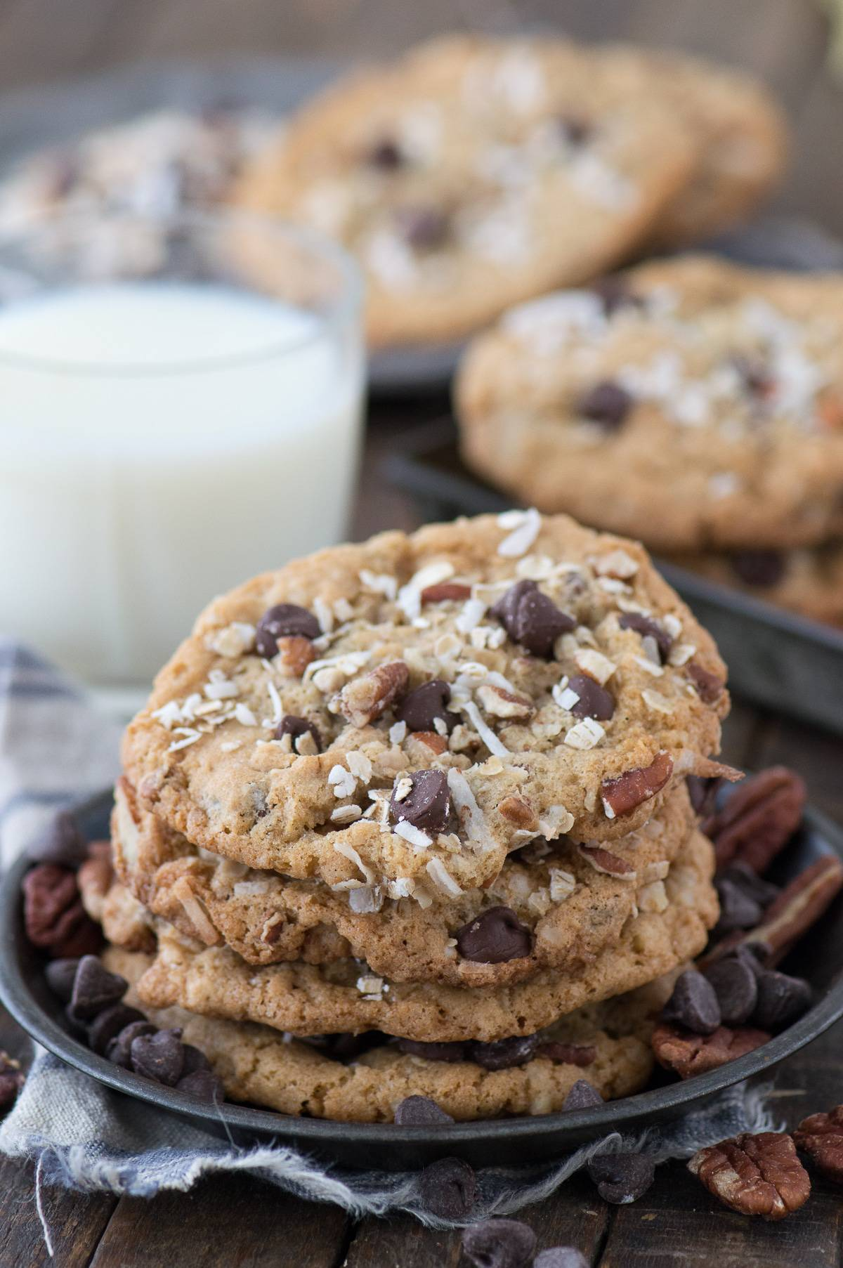 Cowboy cookies are one of the BEST cookies I've ever had! They are loaded with oats, chocolate chips, coconut and pecans, plus require no chilling!