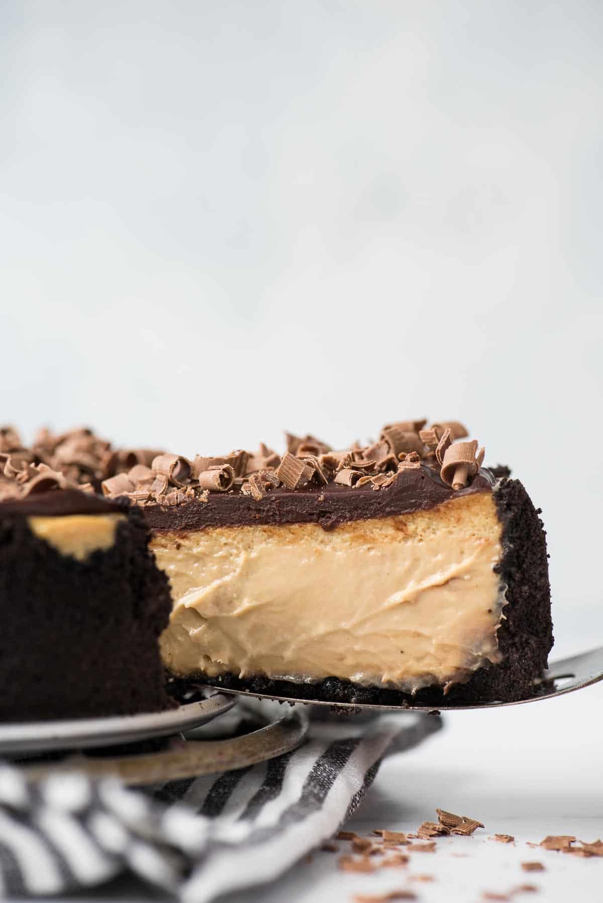 espresso cheesecake slice on serving spatula