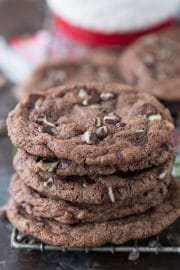 These peppermint chocolate cookies taste just like thin mints! Made with andes mint chips! A quick 30 minute holiday cookie recipe that requires no chilling.