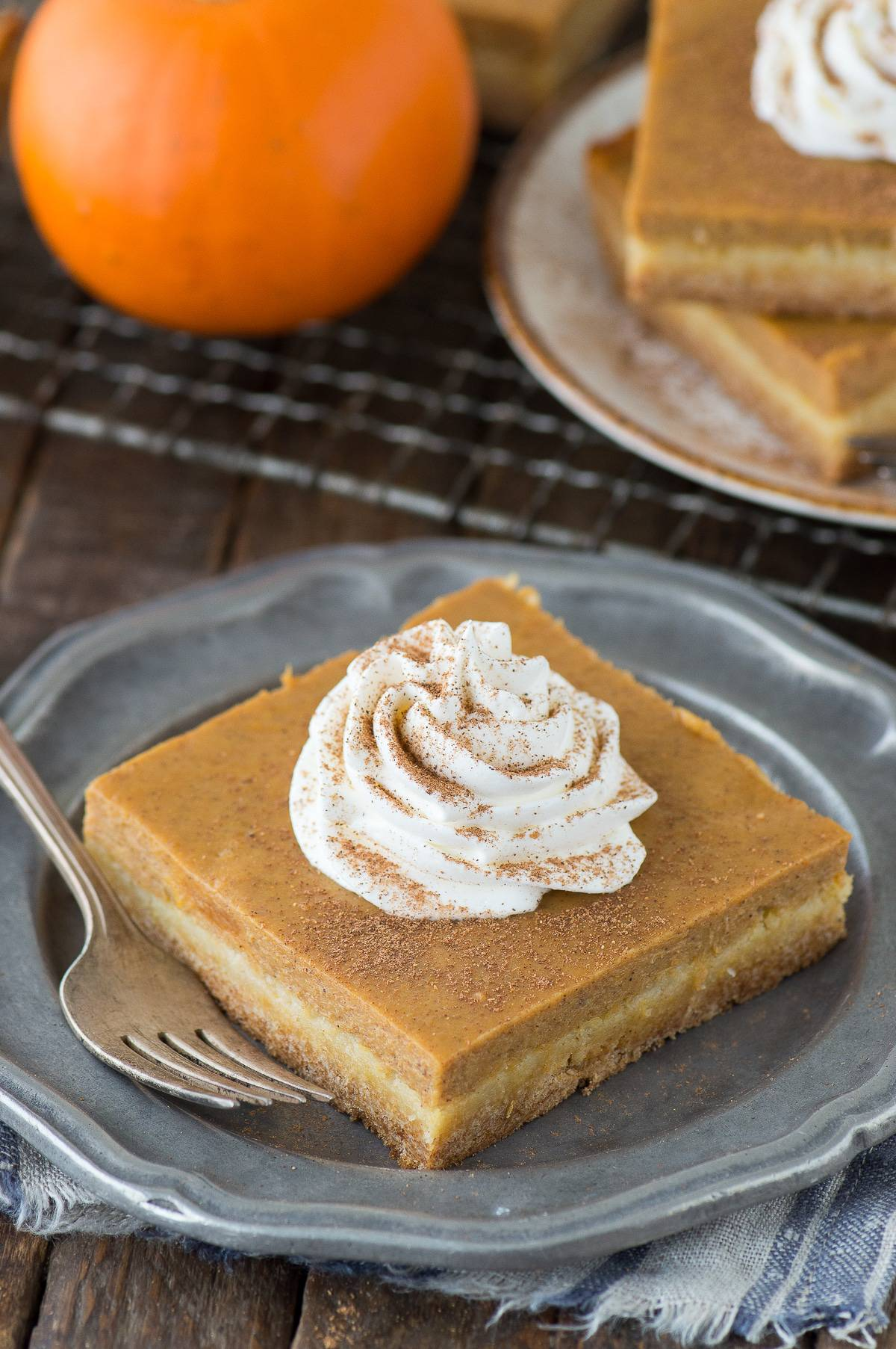 Pumpkin Pie Bars Made With Yellow Cake Mix