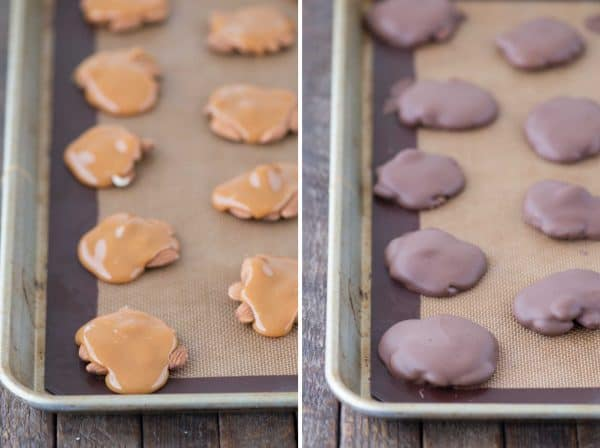 photo collage - clusters of almond covered in caramel and later covered with chocolate.