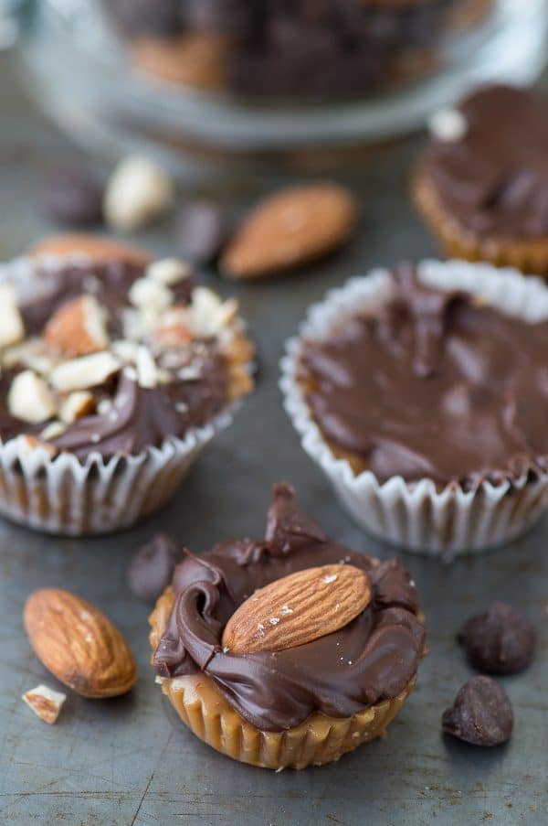 Homemade almond toffee bites made in a mini muffin pan, which is genius! This is the best homemade candy! Great for the holidays and gift giving.