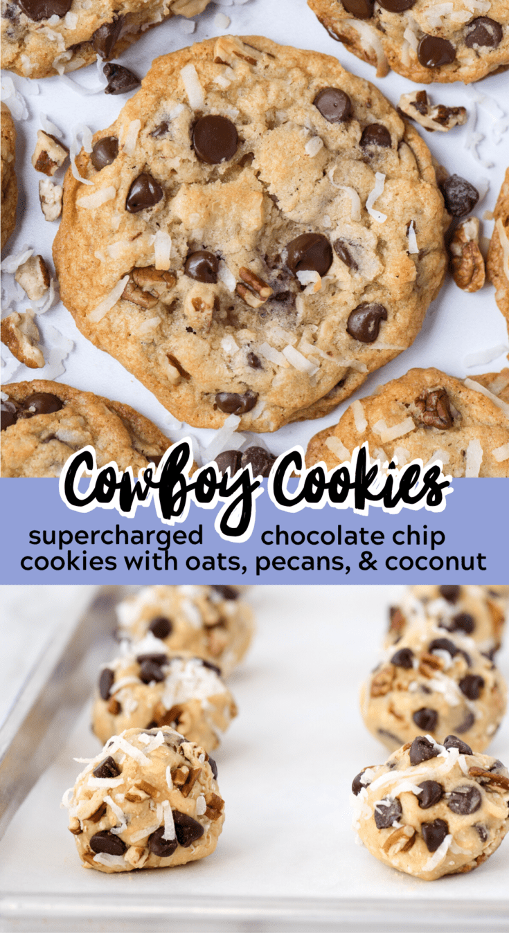 This soft and chewy Cowboy Cookie is our favorite loaded cookie recipe. It's like a supercharged chocolate chip cookie that's loaded with oats, coconut and pecans! Cowboy cookies are ready to eat in 25 minutes - you don't have to chill the cookie dough! #cowboycookies #cookies #christmascooki