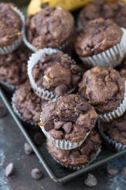 These are the BEST healthier chocolate mini muffins with no granulated sugar, butter or oil in the recipe! Make healthier chocolate muffins with bananas, greek yogurt, and honey.