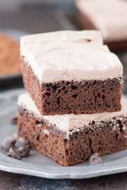 The BEST healthy chocolate fudge cake at 175 calories per piece! No granulated sugar, oil or butter - uses honey and greek yogurt. Plus there's a healthier frosting recipe that's only 2 ingredients.