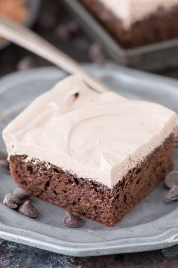 slice of healthy chocolate cake from scratch on metal plate